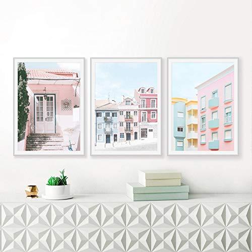 OKYQZ Impresión de Arte Edificio de la Ciudad Blush Pink Poster Naturaleza Paisaje Lienzo Pintura Fotografía Imagen Pared Decoración para el hogar (70x90cm) X3 Sin Marco
