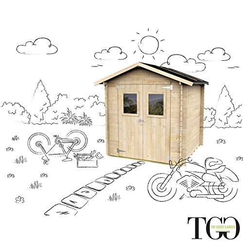 Casetta In Legno Per Attrezzi con porta doppia finestrata garage Olivia 198 x 198 cm