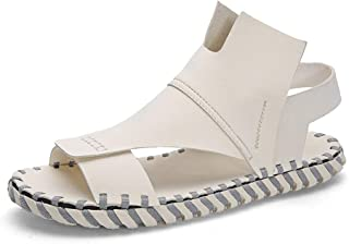 SHENLIJUAN Summer Sandal for Men Casual Water Shoes Microfiber Leather Open Toe Stitching Lightweight Antislip