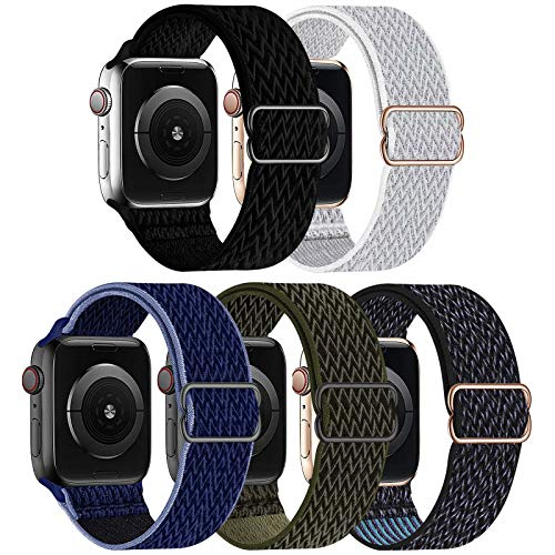 GBPOOT 5 Packs Nylon Stretch Band Compatible with Apple Watch Bands,Adjustable Soft Sport Breathable Loop for Iwatch Series 6/5/4/3/2/1/SE,Black/Seashell/Midnight Blue/Cargo Khaki/Hyper Grape-42/44mm