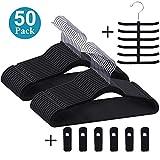 VECELO Premium Velvet Suit Hangers Heavy Duty (50 Pack) - Non Slip & Space-Saving Clothes Hangers with 6 Finger Clips and Tie Rack Excellent for Men and Women (Black)