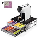 Nespresso 72 Coffee Capsule Holder Rack 2-Tier Pod Storage Drawer Organizer and Coffee Machine Stand with Microfibre Cleaning Cloths