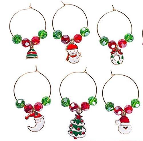 OUYAWEI - Ciondolo a Forma di Bicchiere di Vino, Decorazione per la casa, per Feste di Natale, Capodanno, Anello in Metallo Luna