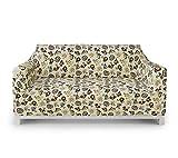 ABAKUHAUS Fußball Sofabezug Sofaüberwurf, Fußball, der Lions-Pferd spielt, Elastischer Strechbarer Couch Schonbezug, 2 Sitzer, Mehrfarbig Beige