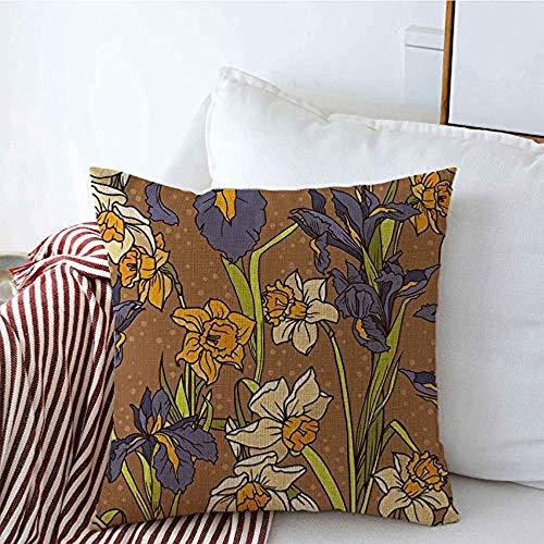 New-WWorld-Shop Kissenbezüge Schöne Hand Iris Iris Botanische Narzisse Provence Vintage Fliesen Blumen Blüte Kissen Kissenbezüge