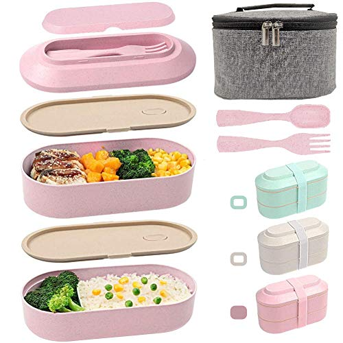 IAXSEE Lunch Box for Women Bento Box with Containers 2-In-1 Compartment Eco Friendly Lunch Container Wheat Straw Leak-proof Stackable with Elastic Band and Lunch BagPink