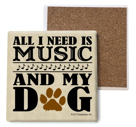 SJT ENTERPRISES, INC. All I Need is Music and My Dog Absorbent Stone Coasters, 4-inch (4-Pack) (SJT04032)