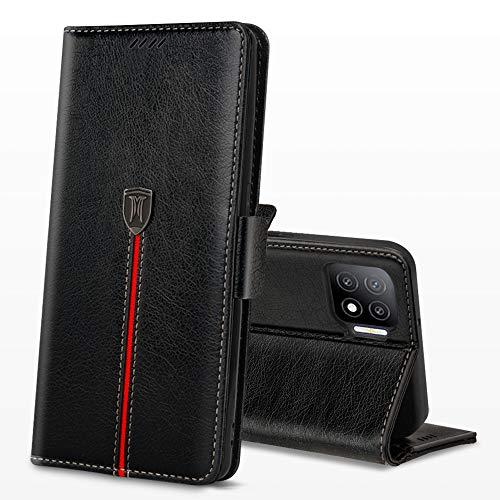 OPPO A73 ケース 手帳型 手作り MaKstu OPPO A73 手帳 ケース 高級 革 スマホケース 手帳 OPPO A73 カバー 財布型 スキミング防止 カード収納 A73 スタンド機能 手帳型 耐衝撃 全面保護 (ブラック)