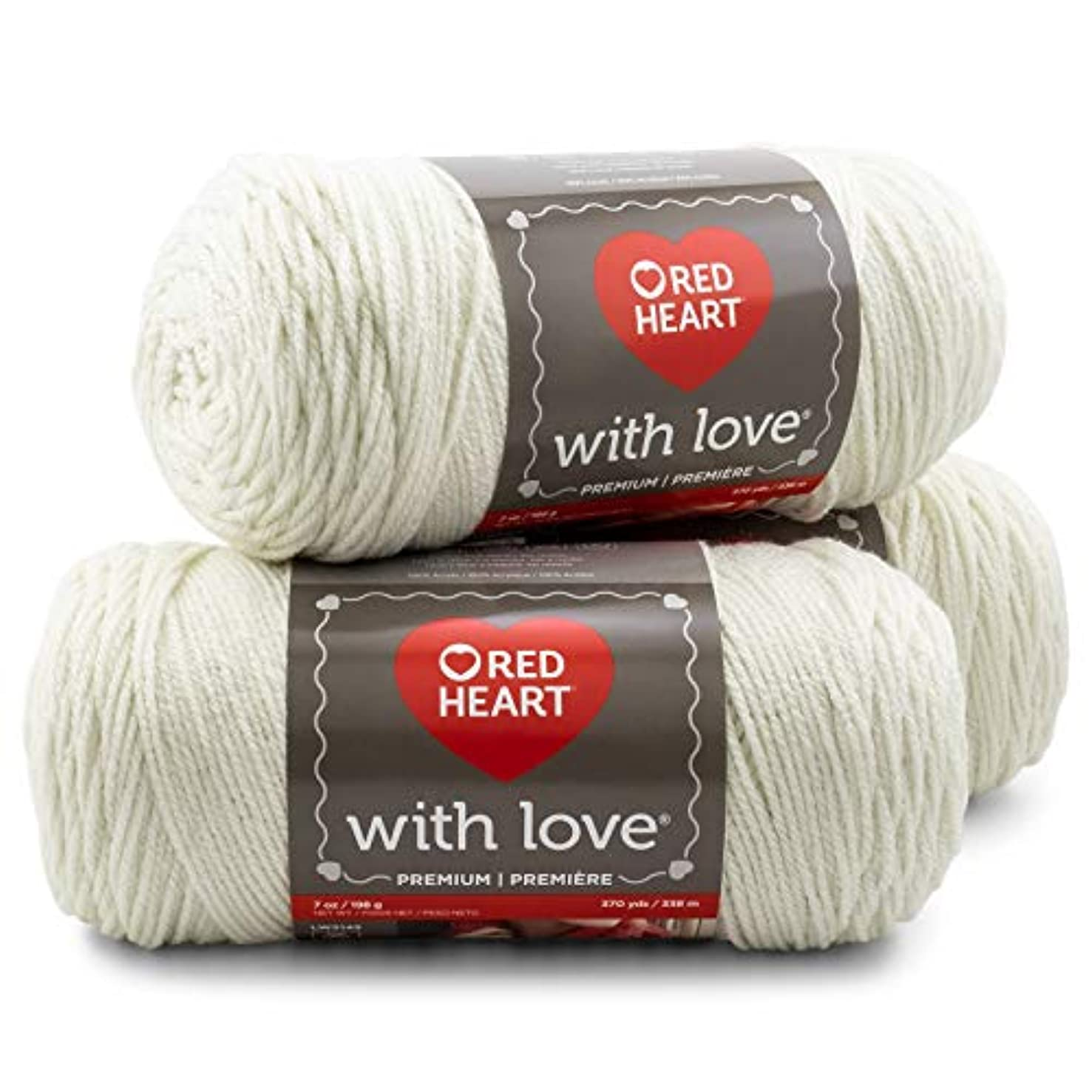 Red Heart E400PK. 1101 with with Love 3-Pack Yarn, Eggshell