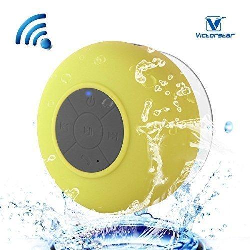 Resistente al agua Bluetooth 3.0 Ducha Altavoz, Altavoz Portátil de Manos Libres con Mic Incorporado, 6h de Tiempo de Juego, Botones de Control y Ventosa Dedicado para Duchas,Cuarto de baño,Piscina,Barco,Coche, Playa,al aire libre Usar (Yellow)