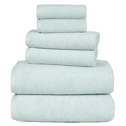 100 Percent Cotton Towel Set, Zero Twist, Soft and Absorbent 6 Piece Set With 2 Bath Towels, 2 Hand Towels and 2 Washcloths (Seafoam) By Lavish Home