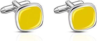 أزرار أكمام للرجال،وجهاز عرض X كبير الحجم ومنفذي ( اللون: أصفر)
