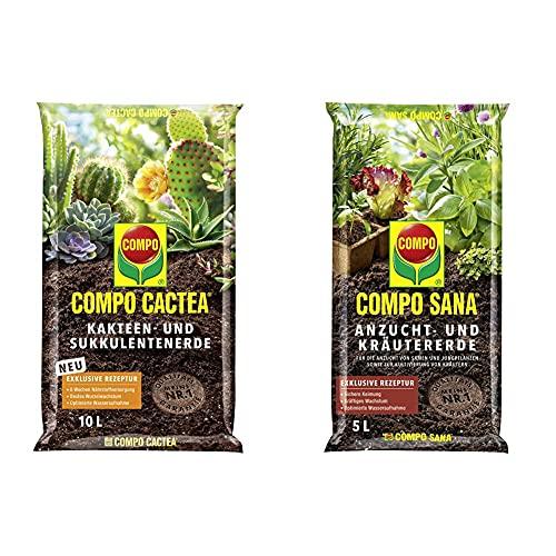 COMPO CACTEA Kakteen- und Sukkulentenerde mit 8 Wochen Dünger, 10 L & SANA Anzucht- und Kräutererde mit 6 Wochen Dünger für alle Jung- und Kräuterpflanzen, 5 L