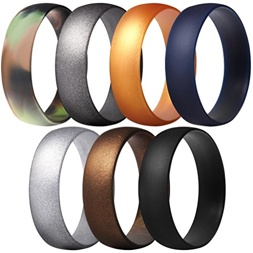 ThunderFit Silicone Rings, 7 Pack Wedding Bands for Men & Women (Black, Bronze-Men, Gold, Gun Metallic, Camo, Silver, Dark Blue, 6.5 - 7 (17.3mm))