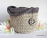 MYMEHI Tote bag para verano en colores personalizables con charm difusor de aromas a juego, bolso tote de playa, bolso de compra en crochet