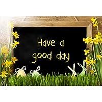 GooEoo 良い一日を過ごす背景7×5フィートビニールイースターの日写真の背景黒板水仙かわいいイースターエッグバニーグリーングラス日光浴子供大人大人肖像画コミュニティ活動バナー