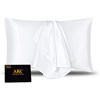 AKK 1 Pack White Silky Soft Satin Pillowcase Standard/Queen, Hypoallergenic Envelope Closure Pillow Case Covers, Gift Package