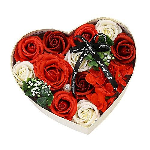 Gobesty Seifenblume in Geschenkbox, Herz Rosenbox Rose Geschenk für Frauen Rose DIY Hochzeit Blumensträuße Braut Zuhause Dekoration für Valentinstag Muttertag Hochzeit Jubiläum Geburtstag, Rot