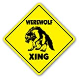 [SignJoker] WEREWOLF CROSSING Sign novelty gift mythology Wall Plaque Decoration