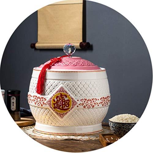 MADHEHAO Recipiente para Granos de Cocina Recipiente para Almacenamiento de arroz de cerámica Recipiente para Almacenamiento de Alimentos a Prueba de Humedad de Gran Capacidad Recipiente para arroz s