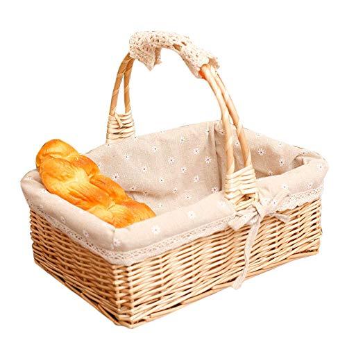Cestas de mimbre hechas a mano Facibom para la compra, cesta de la compra de mimbre de la colección de regalo, forro de tela, cesta de almacenamiento para picnic