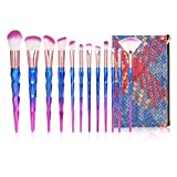 Anself 12Pcs Brochas de Maquillaje, Juego de Pinceles Maquillaje Profesional para Sombra de Ojos, Corrector, Rubor, Base, con Bolsa de Cosméticos a Prueba de Agua