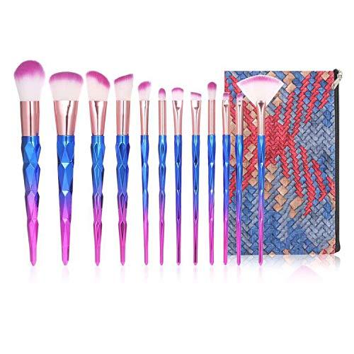 Anself 12pcs Pinceaux de Maquillage,Brosses de Maquillage Colorées pour Fond De Teint/Mélange Poudre pour Le Visage Blush/Concealers/Ombres à Paupières,avec un sac à Cosmétiques étanche