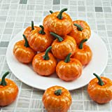 vok 12pcs Artificial Foam Mini Pumpkins, Halloween Thanksgiving Fall Harvest Pumpkin Decorations Props (oranger2)