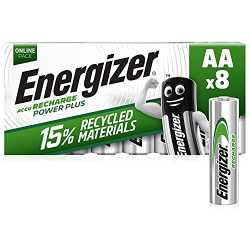 Energizer AA Akkus, Recharge Power Plus Akku, 8 wiederaufladbare Batterien AA