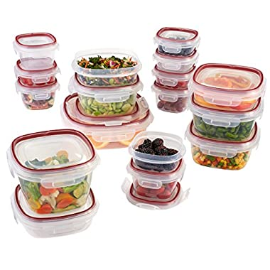 Rubbermaid Lock-Its Food Storage Containers with Easy Find Lids, Racer Red, 34-Piece Set 1802476