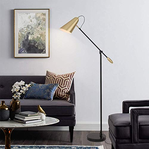 YXYOL Creative Marble Floor Lamp,Arc Floor Lamp with Height Adjustable Grace Standing Lamp with Hanging Brass Shade Marble Base Sits Behind Couch/Corner