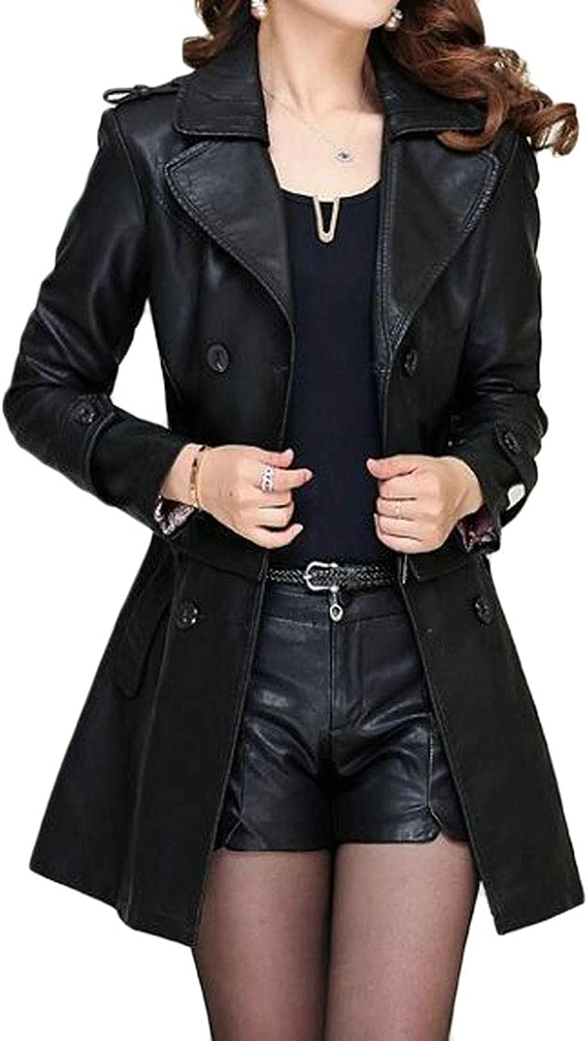 Jofemuho Women Mid Length Belted Classic Double Breasted Pu Leather Jacket Trench Coat