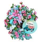 DOTTAVR Corona decorativa para puerta artificial, corona de flores, corona de pared, para primavera, verano, todas las estaciones, decoración de pared para bodas, festivales
