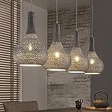 famlights Esszimmer Lampe | Vintage Lampe grau| Industrie Lampe / 4-flammig Dimmbar Fassung: E27 Lampe Industrial | Retrolampe / E27