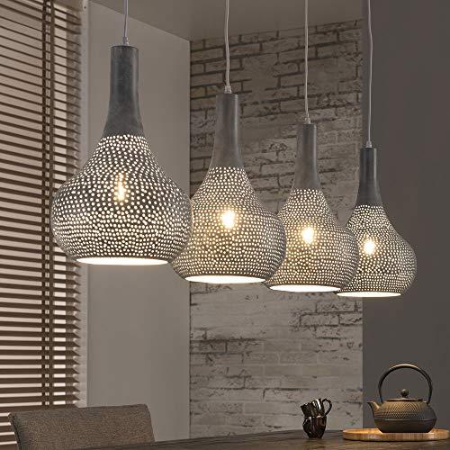 famlights Vintage Hängelampe | Pendelleuchten grau | Lampe Decke / 4-flammig dimmbar Fassung: E27, Hängelampe Wohnzimmer | Deckenlampen Industrie Design / Mediterran