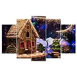 DMLGQ Patrón de Navidad, Pintura de Lienzo, decoración del hogar, inyección de Tinta por computadora, Mural, Pared de Fondo del sofá, Pinturas de Dormitorio sin Marco_150 * 80 cm