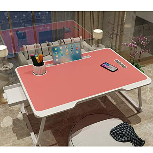 Soporte de lectura portátil para ordenador portátil, portátil, portátil, plegable, portátil, patas de mesa, ranura para taza y tableta para ordenador, para cama, sofá, sofá o suelo, rosa, With drawer