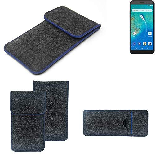 K-S-Trade Handy Schutz Hülle Für General Mobile GM 8 Go Schutzhülle Handyhülle Filztasche Pouch Tasche Hülle Sleeve Filzhülle Dunkelgrau, Blauer Rand