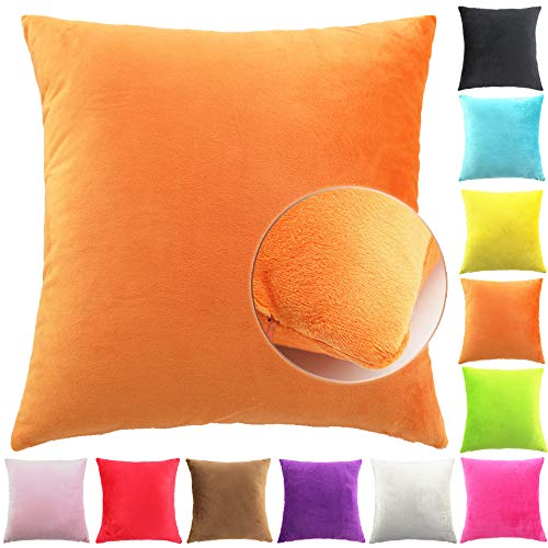 Easondea Fundas de Cojín de Color sólido Square Decorativos para Sofá Cama Coche Fundas Cojines Funda de Almohada Naranja 40X60CM
