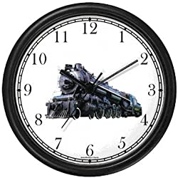 WatchBuddy Steam Engine or Locomotive Train No.2 Wall Clock Timepieces (Black Frame)
