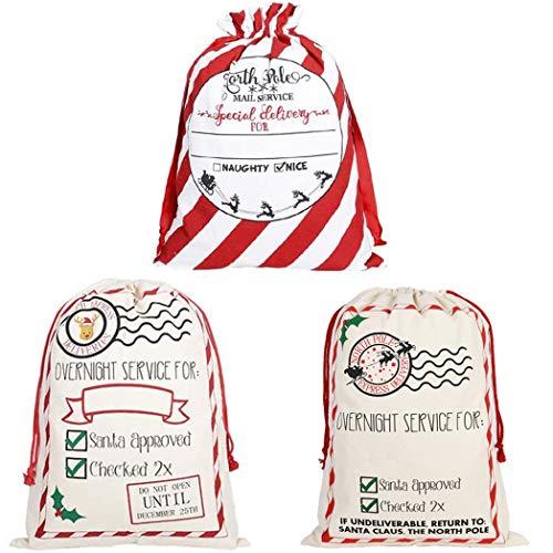 GKanMore 3 bolsas de Navidad con cordón extragrande para Papá Noel 27.6 x 19.7 pulgadas, bolsa de algodón para regalos de Navidad