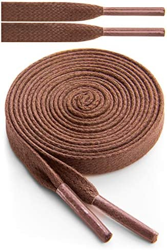 Miscly Flat Waxed Cotton Boot Laces Shoelaces 1 Pair 1 4 Wide 54 137cm Brown product image