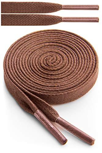 Miscly – Schnürsenkel Flach - Gewachst Reißfest [3 Paar] für Steifel und Lederschuhe – 100% Baumwolle - Ø 6mm (137 cm, Braun)