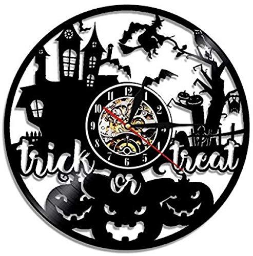 Reloj de Pared de Vinilo Trick Or Treat decoración de Halloween de Miedo Reloj de Pared de Vinilo Regalo Hecho a Mano decoración de habitación de niños