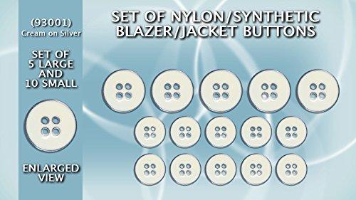 Blazer boutons en nylon/synthétique Lot de 5 grands et 10 petits – (Crème Laqué sur Argent) gb93001