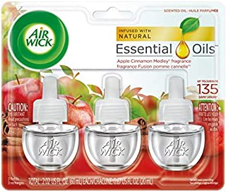 Air Wick plug in Scented Oil 3 Refills, Apple Cinnamon Medley, (3x0.67oz), Essential Oils, Air Freshener