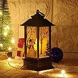 Farolillos Vela LED Navideña, Adornos Arbol de Navideña, Farol Decorativos Vintage Lámpara de Aceite Luz de Noche para Exterior y Interior