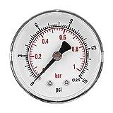 Manómetro, dial de 50 mm Manómetro axial de 1/4 BSPT para aire, agua, petróleo y gas(0-15psi 0-1bar)