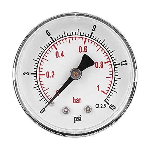 Manómetro de presión de aire, manómetro de presión Conexión trasera del manómetro, para aire, agua,(0-15psi 0-1bar)