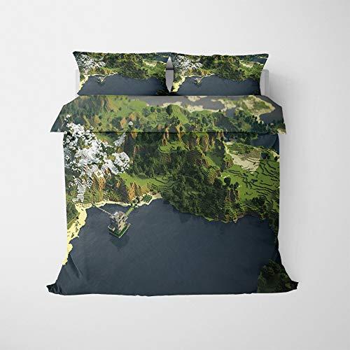 NICHIYO Minecraft Military Duvet Cover Bedding Set - Duvet Cover and Pillow Case, Microfibre, 3D Digital Print Three-Piece Bedding (Duvet Cover + Pillowcases) (17, King 220 x 240 cm)